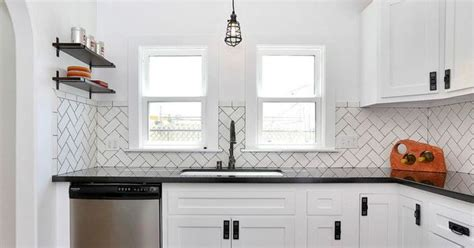 Backsplash Subway Tiles For Kitchen soho white 3 x 6 ceramic tile in herringbone pattern