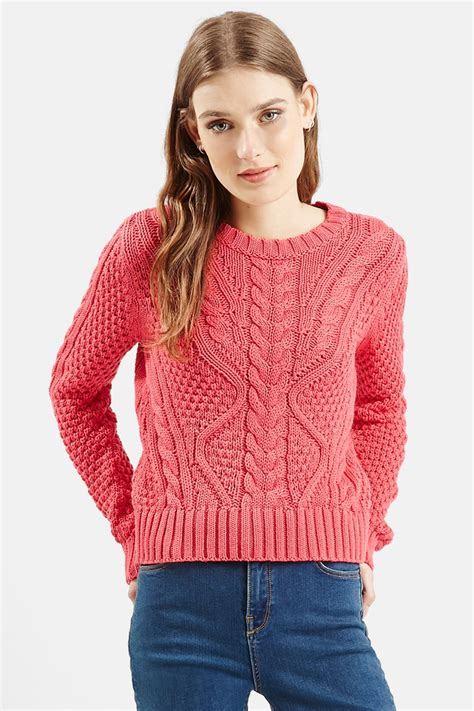 Ca161 New Rope Knit Top topshop cable knit crop sweater juniors in pink lyst