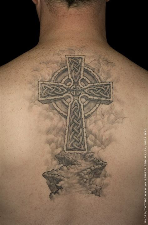 celtic cross tattoo design on upper back tattoobite com