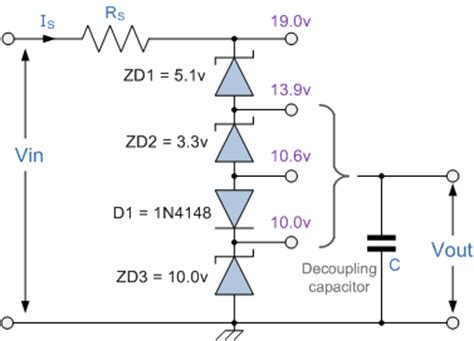 resistor and zener diode in series zener diodes