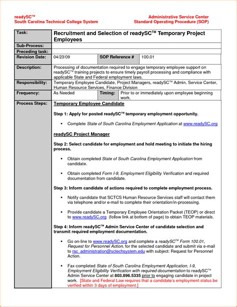 procedure templates 14 standard operating procedures templates