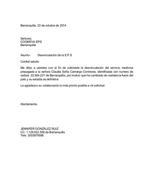 carta de retiro sisben carta de solicitud