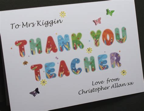 Handmade Thank You Cards For Teachers - large handmade personalised thank you card