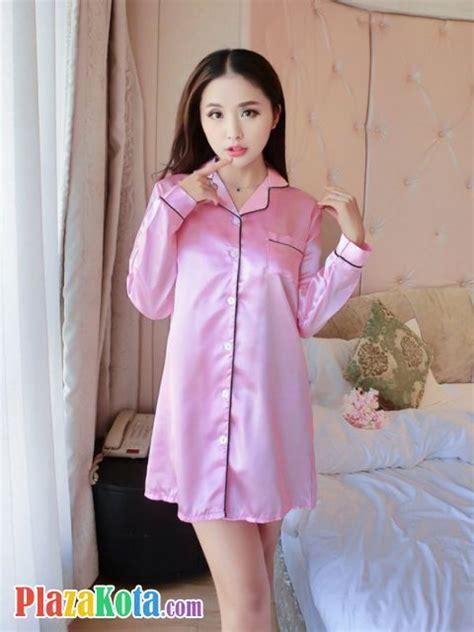 Baju Tidur Piyama Satin Baju Tidur Kancing Depan Menyus Murah jual bt012 baju tidur pink lengan panjang kancing depan plazakota