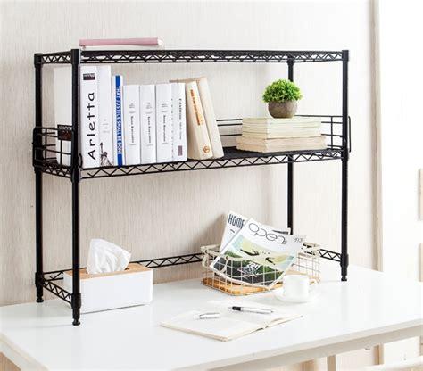 Desk Add On Shelf by Suprima Desktop Metal Bookshelf Black
