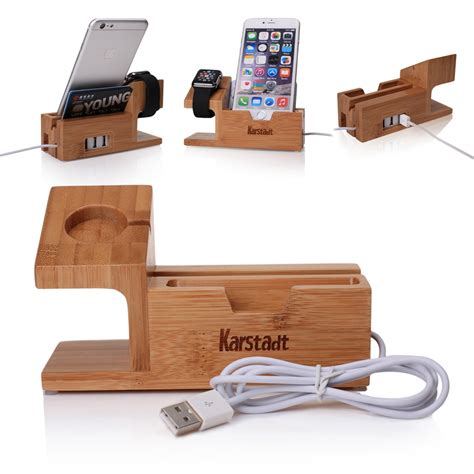 charging stands bamboo wood with 3 port usb charging stand charger dock