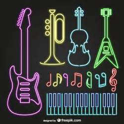 neon musical instruments vector free download