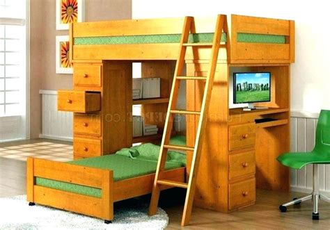 bunk bed desk combo wood wood bunk bed with desk