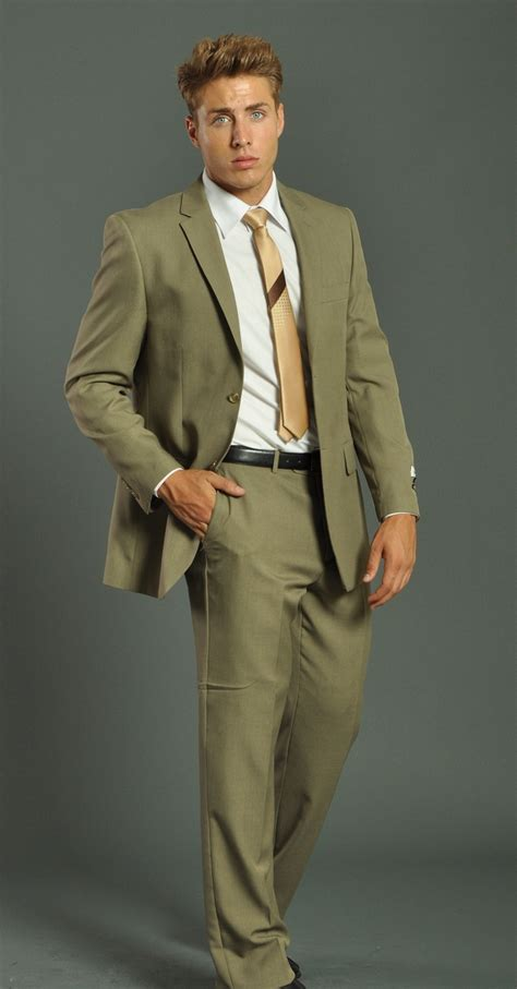 men s two button solid khaki suit buy 1 get 1 free men