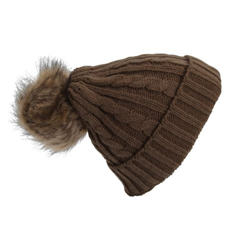 womens cable knit hat womens cable knit winter beanie hat with faux fur