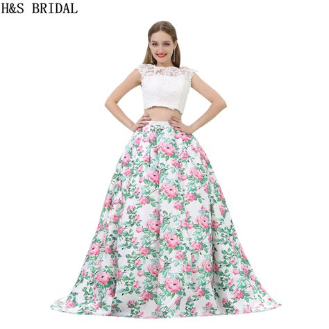 pattern satin prom dresses two pieces white flower printed