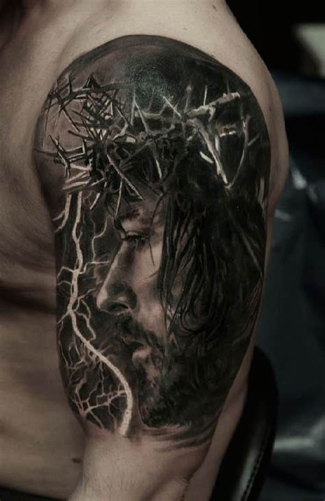 jesus tattoo on arm pics jesus 3d arm tattoo portrait title arm tattoos