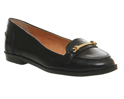 black loafer womens office ralph metal trim loafer black leather flats