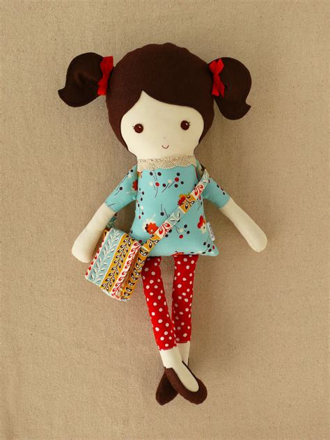 How To Make A Handmade Doll - reserved for n fabric doll rag doll with satchel