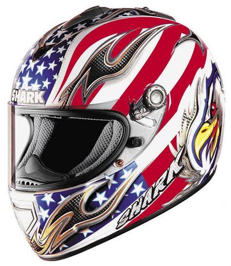 red white and blue motocross shark rsx full face helmet eagle white red blue