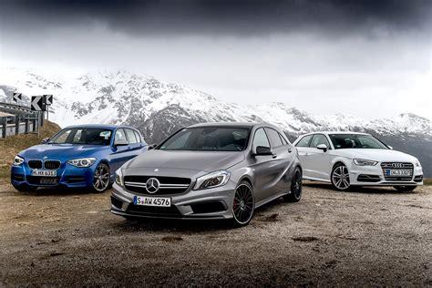 Bmw M Vs Mercedes Amg by Audi S3 Vs Bmw M135i Vs Mercedes A45 Amg Comparison Review