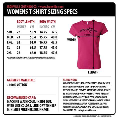 Size T Shirt ironville size charts apparel measurments