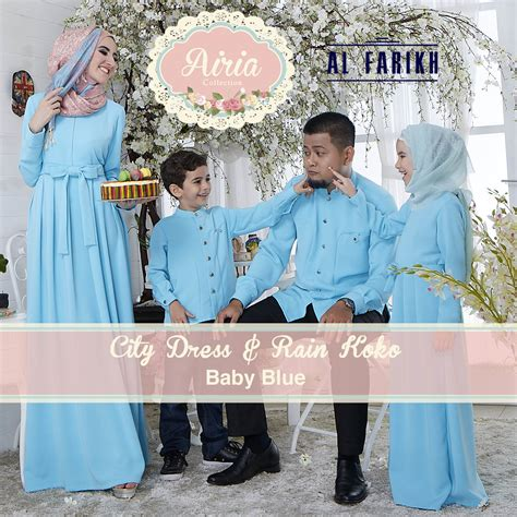 Sarimbit Koko Anak Ka03mr Marun city dress baby blue baju muslim gamis modern
