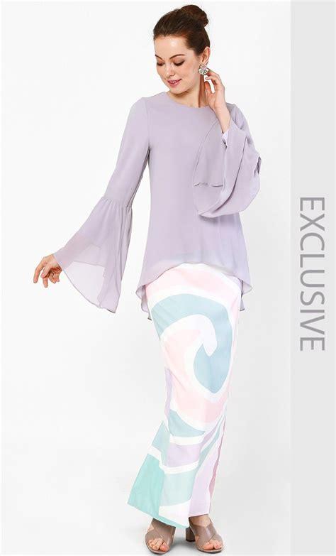 Set Rina Glw Setelan Kebaya Muslim Set Baju Batik Wanita bell sleeved chiffon blouse and skirt set in lavender and pink print fashionvalet baju