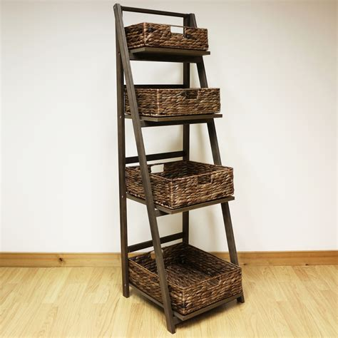 brown 4 tier wooden ladder shelf display unit