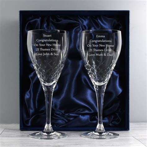 personalised pair of crystal wine glasses find me a gift