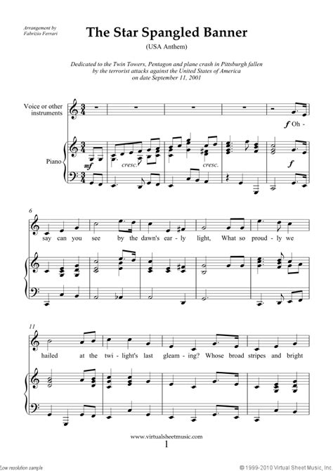 printable star spangled banner sheet music free smith the star spangled banner in c usa anthem