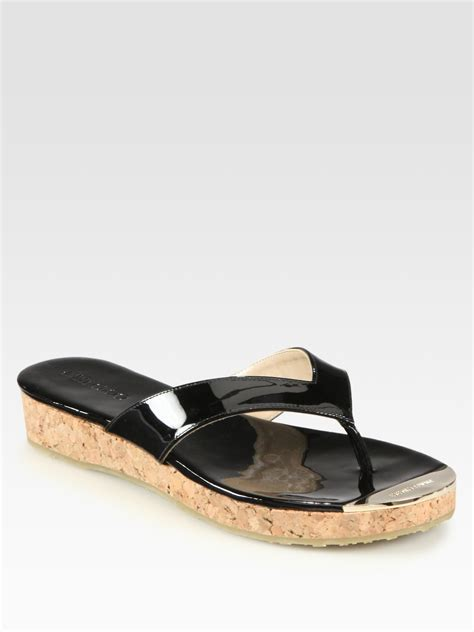 Wafa Cork Sandal From Office by Jimmy Choo Pence Patent Leather Cork Wedge Sandals In