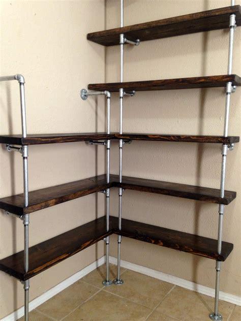 Corner Shelving Unit Corner Shelf Pipe By Industrialenvy Shelving Units For Closets