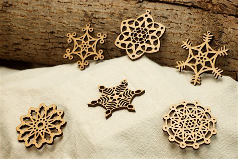 laser engraved ornaments wooden snowflake ornaments laser engraved second set of 6