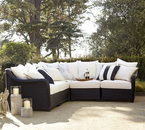 pottery barn outdoor sectional build your own palmetto all weather wicker sectional