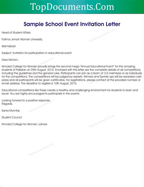 Invitation Letter Format For Event sle invitation letter to school event top docx