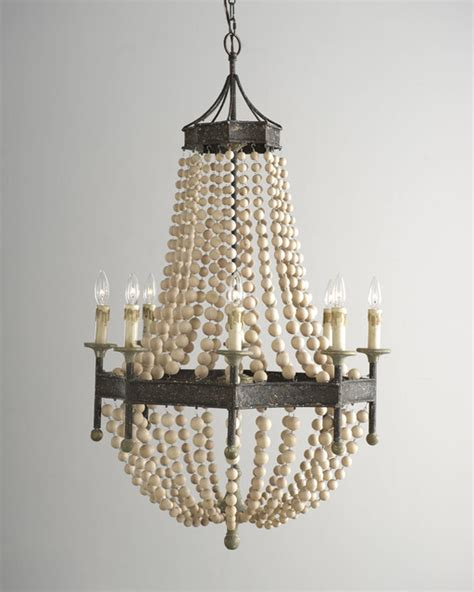 Beaded Wood Chandelier Andrew Design Wooden Bead Chandelier Chandeliers Dallas By Horchow