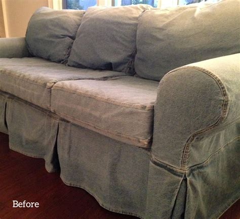 pottery barn denim sofa slipcovers the slipcover maker custom slipcovers tailored to fit