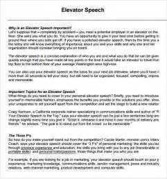 Elevator Speech Template sle elevator speech exles 7 documents in pdf