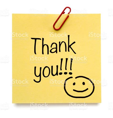 Thank You Note For It Yellow Thank You Postit Note With Smiley Stock Photo 521694586 Istock