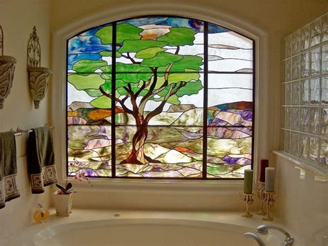 Ideas For Powder Rooms by Quot Austin Oak Quot Bathroom Stained Glass Window Contemporary