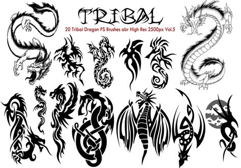 tribal dragon ps brushes vol 5 free photoshop brushes at