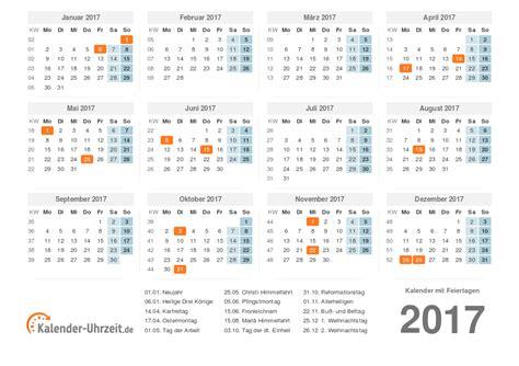 Kalender 2017 Tage Kalender 2017 Mit Feiertagen