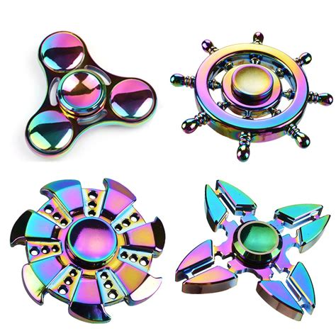 Fidget Spinner Bintang 4 Rainbow Toys cheap price rainbow fidget spinner tri spinner flower wheel turbo metal spinner anti stress
