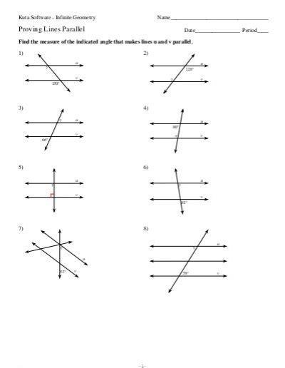 Geometry 3 3 Proving Lines Parallel Worksheet