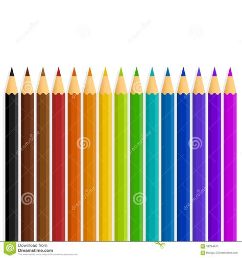 lines and colors a line of vector rainbow color colour pencils