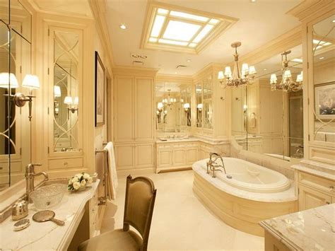 luxurious master bathrooms corner cabinet tower glass tub facing luxury master