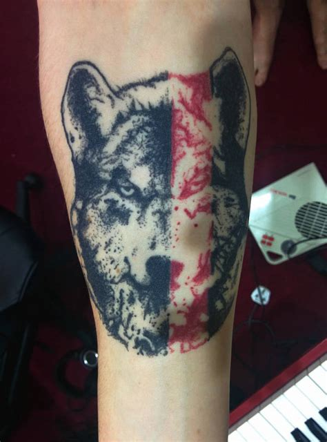 wolf forearm tattoo forearm wolf by joseph geometric yeahtattoos
