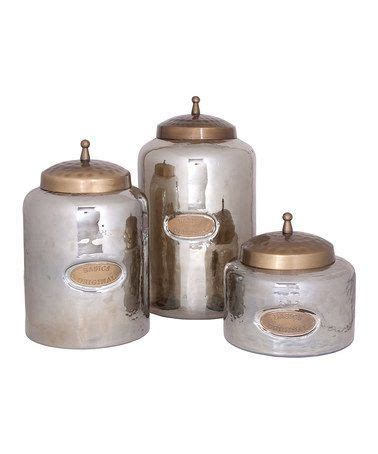 kitchen glass canisters take a look at this moss smoke hammered canister set by home essentials and beyond on zulily