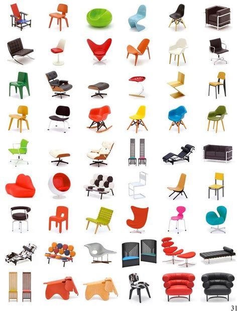 Chair Names - name five of these chair designs and win a free copy of