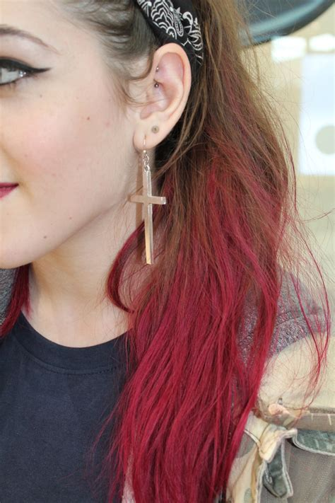 dying red hair light brown dip dye hair dipdye red pink dip dye hair pinterest