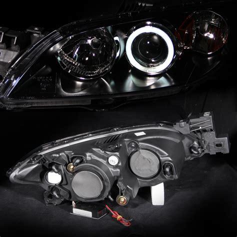 ccfl halo      mazda  black projector headlights pair ebay