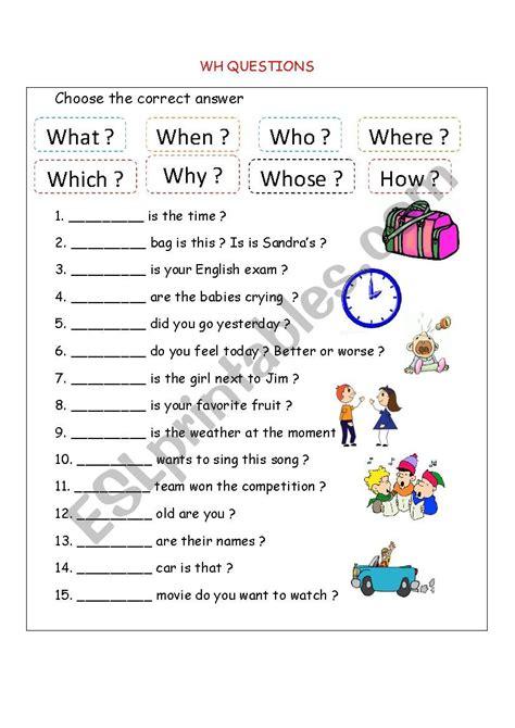 wh questions esl worksheet by bloodsugar