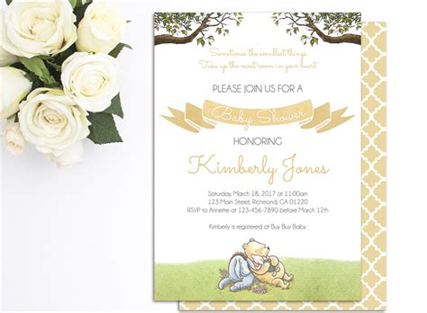 Free Printable Winnie The Pooh Baby Shower Invitations by Printable Winnie The Pooh Baby Shower Invitations