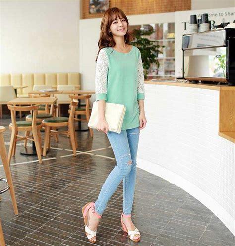 Grosir Murah Baju Simple Denim Dress jual baju blouse korea blue denim blouses